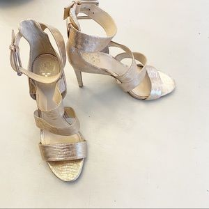 Vince Camuto Gold Embossed Strappy Heels